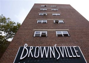 The entrance to Brownsville Houses is seen in the Brooklyn borough of New York